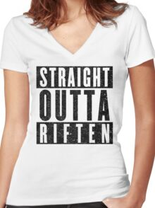 Adventurer with Attitude: Riften Women's Fitted V-Neck T-Shirt