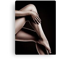 Closeup of Bare Woman Legs on Black Background art photo print Canvas Print