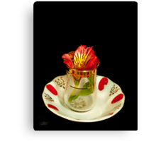 Flower in a tea cup Canvas Print