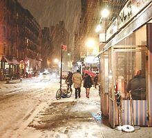 Winter Night - Snow on the Lower East Side - NYC by Vivienne Gucwa