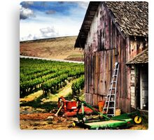 Rustic Barn in Wine Country with John Deere Equipment  Canvas Print