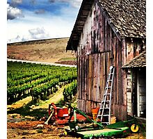 Rustic Barn in Wine Country with John Deere Equipment  Photographic Print