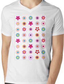 Floral Surprise Pattern Mens V-Neck T-Shirt