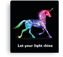 RAINBOW UNICORN BLACK Canvas Print