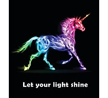 RAINBOW UNICORN BLACK Photographic Print