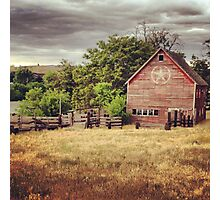 Distressed Red Barn Surrounded by Fields of Gold Photographic Print