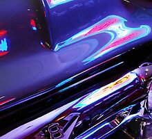 Neon Reflections - Ford V8 Grille by Jill Reger