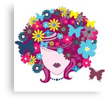 Floral Girl With Butterfly Canvas Print