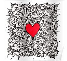 Red Love Heart Squiggle Poster
