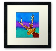 colourful cartoon Silly Stag looking in the window. Framed Print