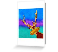 colourful cartoon Silly Stag looking in the window. Greeting Card