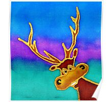 colourful cartoon Silly Stag looking in the window. Poster