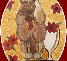 Poodle with Wine Glass by Ginger Lovellette