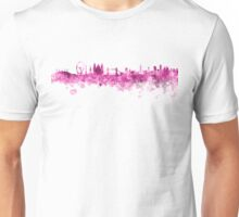 London skyline in pink watercolor on white background Unisex T-Shirt