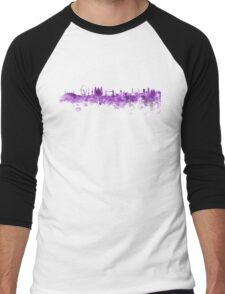 London skyline in purple watercolor on white background Men's Baseball ¾ T-Shirt