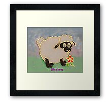 Cartoon Silly Sheep eating flowers Framed Print