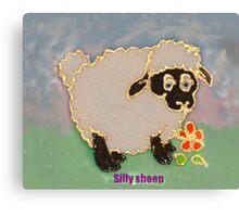 Cartoon Silly Sheep eating flowers Canvas Print