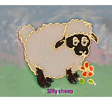 Cartoon Silly Sheep eating flowers Photographic Print