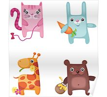 Kitty Bunny Giraffe Bear Cuties Poster
