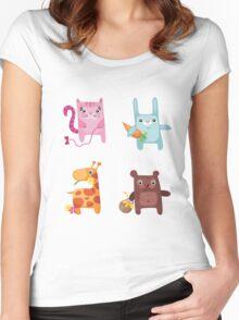 Kitty Bunny Giraffe Bear Cuties Women's Fitted Scoop T-Shirt