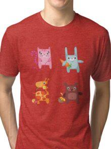 Kitty Bunny Giraffe Bear Cuties Tri-blend T-Shirt