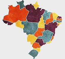 Brazil colour region map by mmapprints