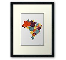 Brazil colour region map Framed Print