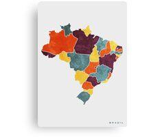 Brazil colour region map Canvas Print
