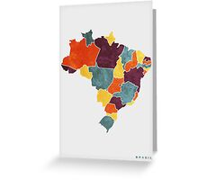 Brazil colour region map Greeting Card