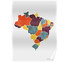 Brazil colour region map Poster