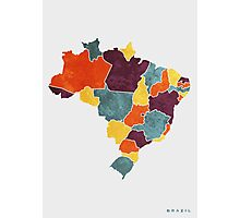 Brazil colour region map Photographic Print