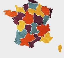 France colour region map by mmapprints
