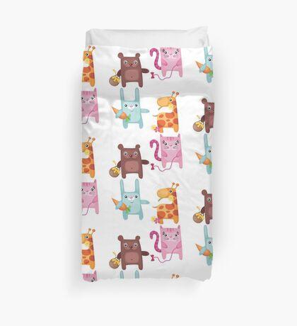 Kitty Bunny Giraffe Bear Cuties Duvet Cover