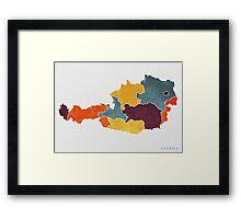 Austria colour region map   Framed Print