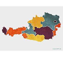 Austria colour region map   Photographic Print