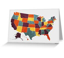 USA colour region map Greeting Card
