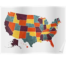 USA colour region map Poster