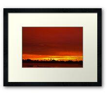 Crimson and amber world Framed Print