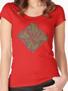 Oak leaves - Tataro pattern Women's Fitted Scoop T-Shirt