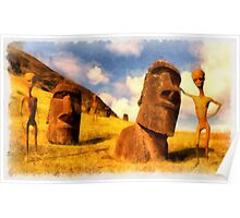 Alien Easter Island Holiday by Raphael Terra Poster