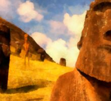 Alien Easter Island Holiday by Raphael Terra Sticker