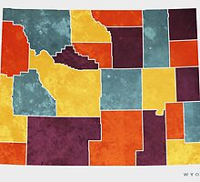 Wyoming colour region map by mmapprints