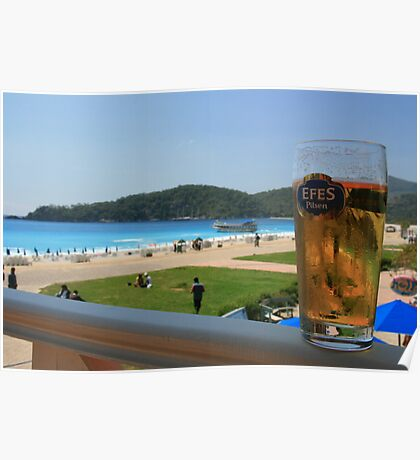 Beer by the beach - Olu Deniz, Turkey Poster