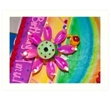 Rainbow cake with Lotus light Art Print