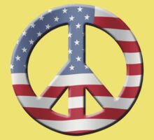 Peace sign and US flag One Piece - Short Sleeve