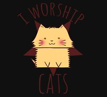 i worship cats #evil Womens Fitted T-Shirt