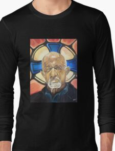 Mike Ehrmantraut Stained Glass Background Breaking Bad Fanart Long Sleeve T-Shirt
