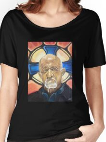 Mike Ehrmantraut Stained Glass Background Breaking Bad Fanart Women's Relaxed Fit T-Shirt