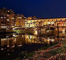 Impressions Of Florence - Ponte Vecchio Evening by Georgia Mizuleva
