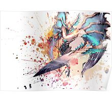 Aatrox League of Legends Champion Digital Mixed Media Painting. Poster